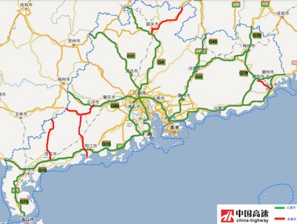 91 G15 沈海高速 汕汾高速 汕头—汾水关(闽界) 56.